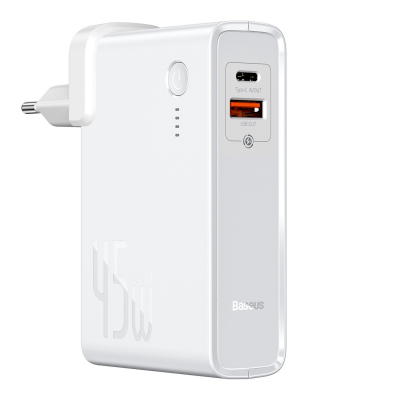 Baseus Powerbank PD - Φορητή Μπαταρία και Φορτιστής Ταξιδιού - USB x 1 / Type-C x 1- 10000mAh - 45W - White (PPNLD-H02)