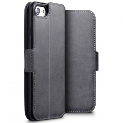 Terrapin Low Profile Δερμάτινη Θήκη - Πορτοφόλι iPhone 8 / 7 - Grey