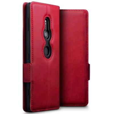 Terrapin Low Profile Δερμάτινη Θήκη - Πορτοφόλι Sony Xperia XZ2 - Red