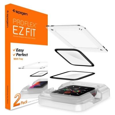 "Spigen ProFlex ""EZ FIT"" Tempered Glass - Fullface Αντιχαρακτικό Γυαλί Οθόνης Apple Watch 6/5/4 (44mm) - 2 Τεμάχια (AFL01220)"