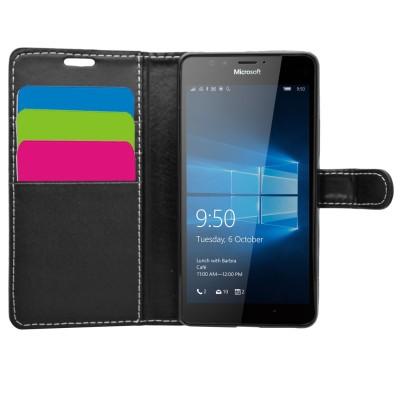 Θήκη- Πορτοφόλι για Microsoft Lumia 950 μαύρη