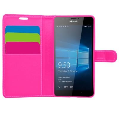 Θήκη- Πορτοφόλι για Microsoft Lumia 950 ροζ