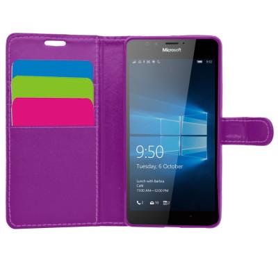 Θήκη- Πορτοφόλι για Microsoft Lumia 950 μωβ