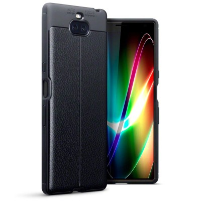 Terrapin Θήκη TPU Leather Design Sony Xperia 10 Plus - Black (118-005-498)