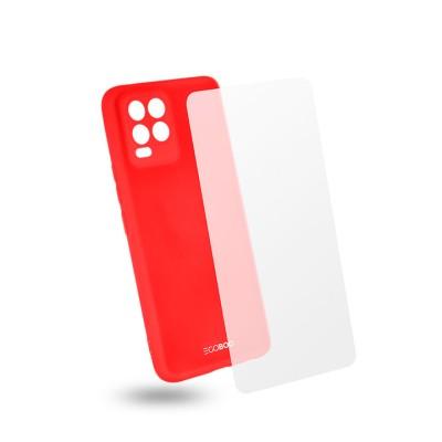 Egoboo Θήκη Ανθεκτική Σιλικόνης Red για Realme 8/8 Pro και δώρο Tempered Glass (R8TPUCORALGL)