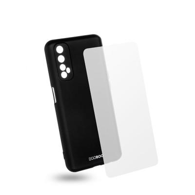 Egoboo Θήκη Ανθεκτική Σιλικόνης Black για Realme 7  και δώρο Tempered Glass (R7TPUBLKGL)