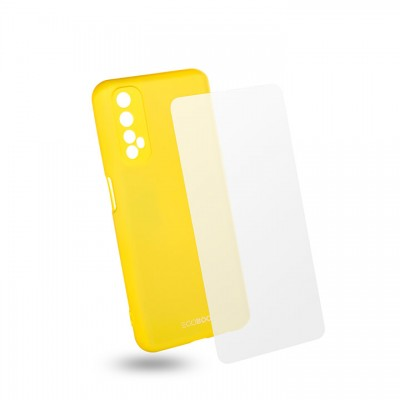 Egoboo Θήκη Ανθεκτική Σιλικόνης Lime για Realme 7  και δώρο Tempered Glass (R7TPULIMEGL)
