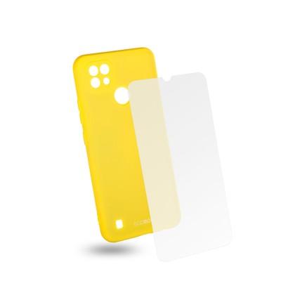 Egoboo Θήκη Ανθεκτική Σιλικόνης Lime για Realme C21 και δώρο Tempered Glass (RC21TPULIMEGL)