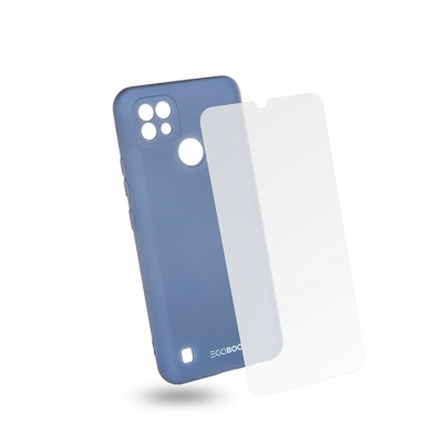 Egoboo Θήκη Ανθεκτική Σιλικόνης Light Grey για Realme C21 και δώρο Tempered Glass (RC21TPUGREYGL)