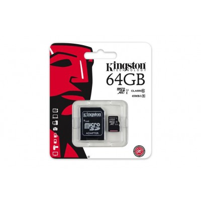 Kingston Κάρτα Μνήμης microSDXC 64GB U1 with Adapter