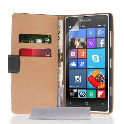 Δερμάτινη θήκη- πορτοφόλι για Microsoft Lumia 532 by YouSave μαύρη