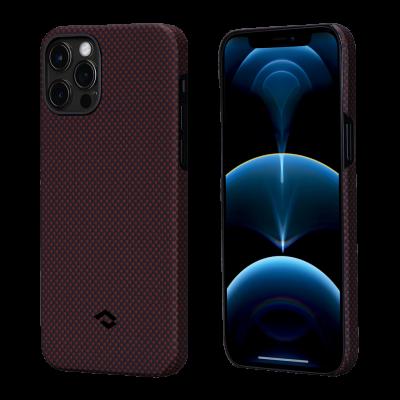 Pitaka MagEz Case - Θήκη Aramid Fiber Body Apple iPhone 12 - Black / Red Plain (KI1204P) (200-108-157)