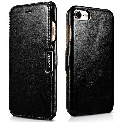 iCarer Vintage Series Side-Open Δερμάτινη Θήκη iPhone 8 / 7 - Black (RIP 702)