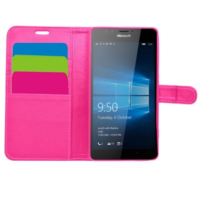 Θήκη- Πορτοφόλι για Microsoft Lumia 950XL ροζ