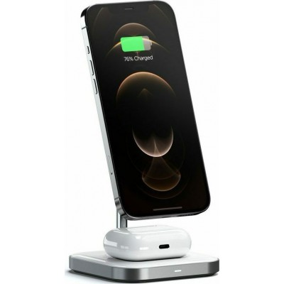 Satechi 2 in 1 Magnetic Wireless Charging Stand - Μαγνητική Βάση Φόρτισης για τα iPhone 12 & Airpods / Airpods Pro - Space Grey (ST-WMCS2M)