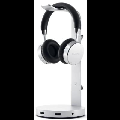 Satechi Aluminum USB Headphone Stand - Βάση για Ακουστικά Κεφαλής με Θύρες 3 x USB-A / 1 x Type-C / 1 x 3.5mm Jack - Silver (ST-UCHSHS)