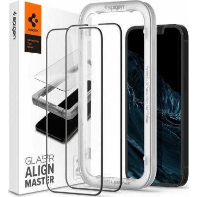 Spigen GLAS.tR ALIGNmaster - Αντιχαρακτικό Fullface Γυάλινο Tempered Glass Apple iPhone 13 mini - 2 Τεμάχια - Black (AGL03398)