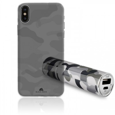 Puro Διάφανη Θήκη Black Rock Camouflage για iPhone X + Army Powerbank Puro 2200mAh (Army Bundle)