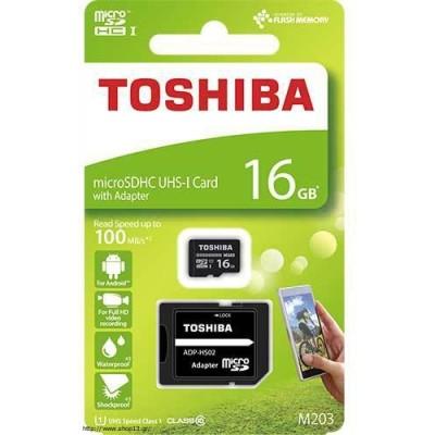 Κάρτα Μνήμης microSDHC 16GB Toshiba Class 10 M203 + Adapter