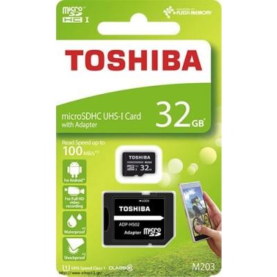 Κάρτα Μνήμης microSDHC 32GB Toshiba Class 10 Exceria M203 R100 + Adapter