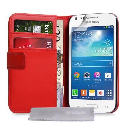 Θήκη- Πορτοφόλι για Samsung Galaxy Core Plus by YouSave Accessories κόκκινη  και δώρο screen protector