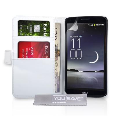 Θήκη- Πορτοφόλι για LG G Flex  by YouSave Accessories λευκή και δώρο screen protector