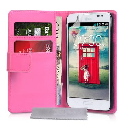 Θήκη- Πορτοφόλι για LG L70  by YouSave Accessories ροζ και δώρο screen protector