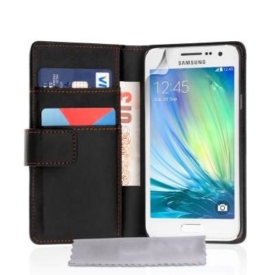 Θήκη- Πορτοφόλι για Samsung Galaxy A3  by YouSave Accessories μαύρη  και δώρο screen protector