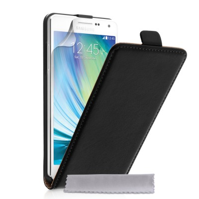Δερμάτινη θήκη για Samsung Galaxy A5 by YouSave Accessories  μαύρη και δώρο screen protector