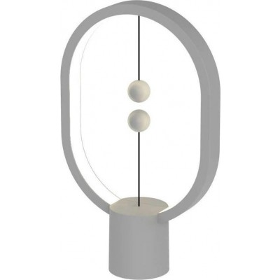 Allocacoc Heng Balance Mini Plastic Lamp Ellipse Type-C, Ύψος 24,5 cm Φωτιστικό με Διακόπτη από Μαγνήτες - Light Grey - (200-106-046)