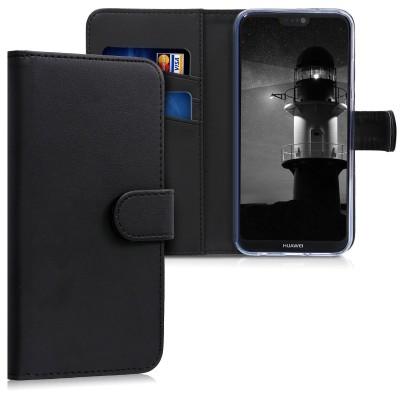 Θήκη-Πορτοφόλι για Huawei P20 Lite Μαύρη by KW (200-102-737)