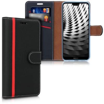 Θήκη-Πορτοφόλι για Huawei P20 Lite Μαύρο-κόκκινο  by KW (200-103-058)
