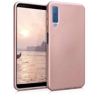 Θήκη σιλικόνης metallic rose gold για Samsung Galaxy A7(2018) by KW (200-103-276)