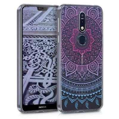 KW Θήκη Σιλικόνης Nokia 7.1 - Blue Dark/ Pink Indian Sun (200-103-722)
