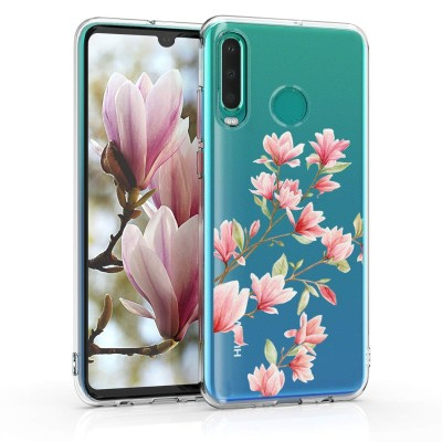 KW Θήκη Σιλικόνης για Huawei P30 Lite Magnolias Light Pink / White / Transparent  (200-103-608)