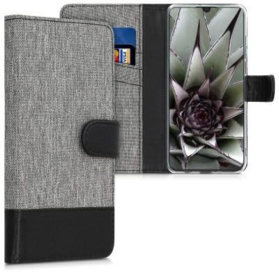 Θήκη πορτοφόλι Γκρι/Μαύρη για Huawei P30 Lite by KW (200-103-600)