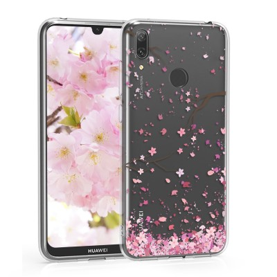 KW Θήκη Σιλικόνης Huawei Y7 (2019) / Y7 Prime (2019) - Light Pink / Dark Brown / Transparent (200-104-739)