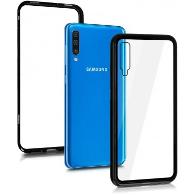 KW Samsung Galaxy A50 Θήκη -Tempered Glass Protective Full Body with Aluminum Frame - Black/Transparent  (200-104-492)
