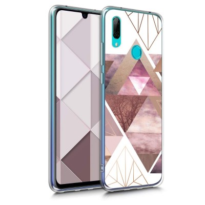 KW Θήκη Σιλικόνης Huawei Y7 (2019) / Y7 Prime (2019) - Patchwork Triangles Light Pink / Rose Gold / White (200-104-821)