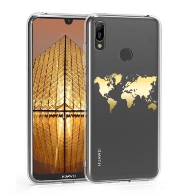 KW Θήκη Σιλικόνης Huawei Y7 (2019) / Y7 Prime (2019) - Gold / Transparent (200-104-740)