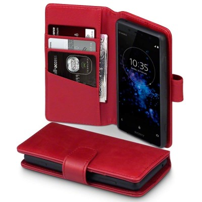 Terrapin Δερμάτινη Θήκη Πορτοφόλι Sony Xperia XZ2 Compact - Red (117-005-623)