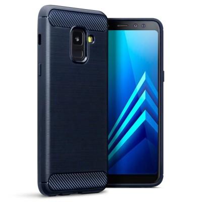 Terrapin Θήκη Σιλικόνης Carbon Fibre Design Samsung Galaxy A8 2018 - Dark Blue (118-002-667)