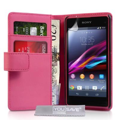 Θήκη- Πορτοφόλι για Sony Xperia Z1 Compact  by YouSave ροζ και δώρο screen protector
