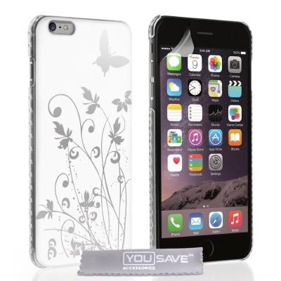 Θήκη για iPhone 6 Plus /6S Plus  by YouSave λευκή Butterfly και screen protector