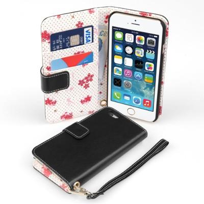 Θήκη- Πορτοφόλι για iPhone 6 Plus/ 6S Plus μαύρη-floral  by YouSave και screen protector