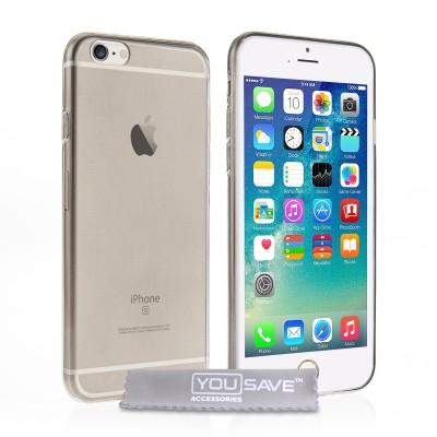 Θήκη σιλικόνης για iPhone 6/6S ημιδιάφανη μαύρη  by YouSave και δώρο  screen protector (200-100-842)