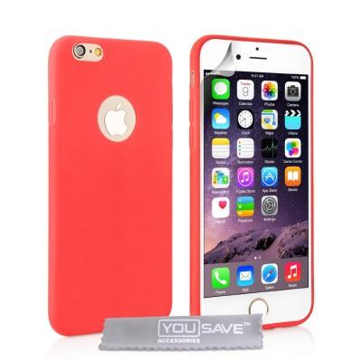 Θήκη σιλικόνης για iPhone 6 Plus /6S Plus κόκκινη  slim  by YouSave και δώρο  screen protector