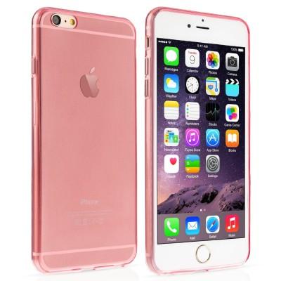 Ημιδιάφανη θήκη σιλικόνης για iPhone 6 Plus/ 6S Plus slim ροζ by YouSave και screen protector (200-100-544)