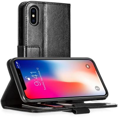Δερμάτινη Θήκη- Πορτοφόλι για iPhone X by Centopi μαύρη και δώρο screen protector (200-102-638)