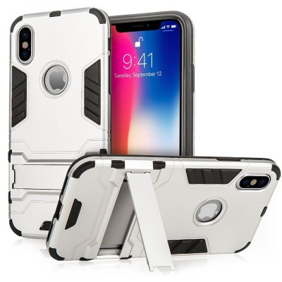 Centopi  θήκη Armour Combo Stand για iPhone X - Silver και δώρο screen protector (200-102-643)